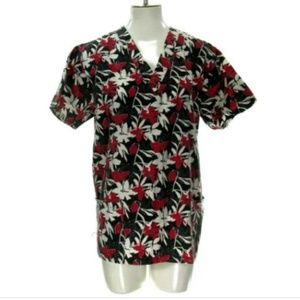 Absolute Scrubs Women's Small Floral Nurse Top